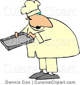 Cuisine Clipart of a Male Baker or Cook Holding a Pan by Djart