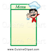 Cuisine Clipart of a Male Chef Gesturing Good on a Green and Yellow Menu Board by Visekart