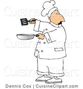 Cuisine Clipart of a Male Chef Holding a Frying Pan and Spatula by Djart