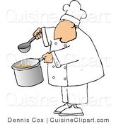Cuisine Clipart of a Male Chef Holding a Ladle and Pot of Soup by Djart