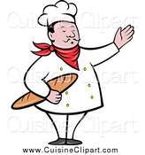 Cuisine Clipart of a Male Chef Holding Bread and Presenting by Patrimonio