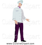 Cuisine Clipart of a Male Chef Standing and Presenting by Leonid