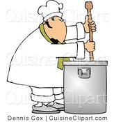 Cuisine Clipart of a Male Chef Stirring a Large Silver Pot of Soup with a Spoon by Djart