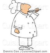Cuisine Clipart of a Male Chef Taste-Testing Food Before Serving It to Customers by Djart