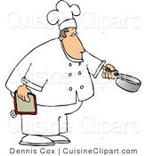 Cuisine Clipart of a Male Cook Holding a Cooking Pot by Djart