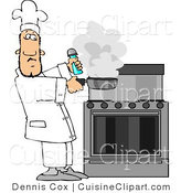 Cuisine Clipart of a Male Cook Lifting a Smoking Skillet from a Hot Stove by Djart