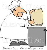 Cuisine Clipart of a Male Cook Making Bread by Djart
