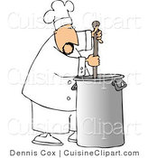 Cuisine Clipart of a Male Cook Stirring Pot of Stew by Djart