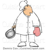 Cuisine Clipart of a Male Cook Wearing an Oven Mitten and Holding a Cooking Pot by Djart