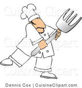 Cuisine Clipart of a Male Cook with a Big Fork by Djart