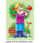 Cuisine Clipart of a Male Farmer with a Shovel and Basket in an Apple Orchard, Holding up a Perfect Red Apple by Alex Bannykh