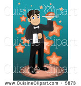 Cuisine Clipart of a Male Waiter Serving Food by Mayawizard101