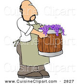 Cuisine Clipart of a Man Harvesting Wine Grapes in a Barrel by Djart