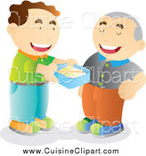 Cuisine Clipart of a Man Offering to Share His Lunch with a Friend by YUHAIZAN YUNUS