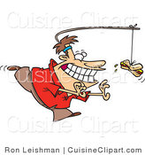 Cuisine Clipart of a Man Running in Circles Chasing a Hotdog on a Stick Attached to His Head by Toonaday