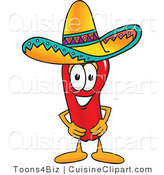 Cuisine Clipart of a Mexican Chili Pepper Wearing a Sombrero Hat by Toons4Biz