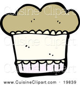Cuisine Clipart of a Muffin by Lineartestpilot