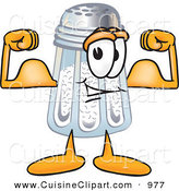 Cuisine Clipart of a Muscular Strong Salt Shaker Mascot Cartoon Character Flexing His Arm Muscles by Toons4Biz
