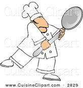 Cuisine Clipart of a Mustached Caucasian Male Chef Carrying a Big Spoon by Djart