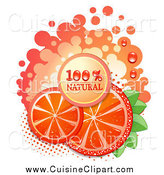 Cuisine Clipart of a Natural Blood Orange Slices and Text by Merlinul