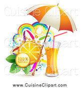 Cuisine Clipart of a Natural Orange Juice or Soda with an Umbrella Slice and Colorful Rainbows and Stars by Merlinul