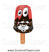 Cuisine Clipart of a Nervous Chocolate Dipped Popsicle by Graphics RF