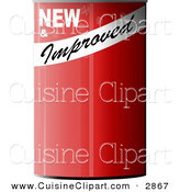 Cuisine Clipart of a NEW & Improved Blank Can of Something with a Blank Label by Djart