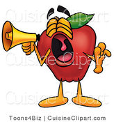 Cuisine Clipart of a Noisy Red Apple Character Mascot Screaming into a Megaphone by Toons4Biz