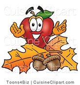Cuisine Clipart of a Nutritious and Outdoorsy Red Apple Character Mascot with Acorns and Fall Leaves in Autumn by Toons4Biz