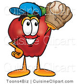 Cuisine Clipart of a Nutritious Red Apple Character Mascot Catching a Baseball with a Glove by Toons4Biz