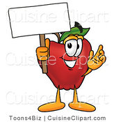 Cuisine Clipart of a Nutritious Red Apple Character Mascot Holding a Blank White Sign over His Head by Toons4Biz