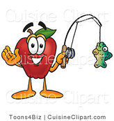 Cuisine Clipart of a Nutritious Red Apple Character Mascot Holding a Fish on a Fishing Pole by Toons4Biz