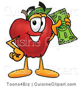 Cuisine Clipart of a Nutritious Red Apple Character Mascot Holding a Green Dollar Bill, Paying or Saving by Toons4Biz