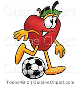 Cuisine Clipart of a Nutritious Red Apple Character Mascot Kicking a Soccer Ball by Toons4Biz