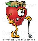 Cuisine Clipart of a Nutritious Red Apple Character Mascot Leaning on a Golf Club While Golfing by Toons4Biz