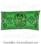 Cuisine Clipart of a Nutritious Red Apple Character Mascot on a Green Dollar Bill by Toons4Biz