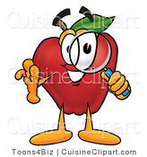 Cuisine Clipart of a Nutritious Red Apple Character Mascot Peeking Through a Magnifying Glass by Toons4Biz