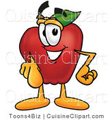 Cuisine Clipart of a Nutritious Red Apple Character Mascot Pointing at the Viewer by Toons4Biz