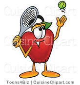 Cuisine Clipart of a Nutritious Red Apple Character Mascot Preparing to Hit a Tennis Ball by Toons4Biz