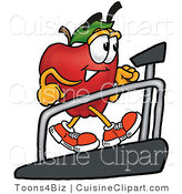 Cuisine Clipart of a Nutritious Red Apple Character Mascot Walking on a Treadmill in a Fitness Gym by Toons4Biz