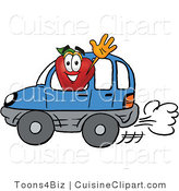 Cuisine Clipart of a Nutritious Red Apple Character Mascot Waving While Driving by in a Blue Car by Toons4Biz