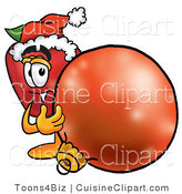 Cuisine Clipart of a Nutritious Red Apple Character Mascot Wearing a Santa Hat, Next to a Christmas Bauble by Toons4Biz