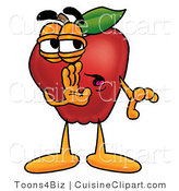 Cuisine Clipart of a Nutritious Red Apple Character Mascot Whispering Secrets by Toons4Biz