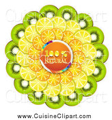 Cuisine Clipart of a Orange Natural Circle with Orange Kiwi and Lemon Slices by Merlinul