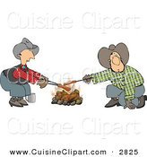 Cuisine Clipart of a Pair of Gay Cowboys Cooking Hot Dogs over a Campfire - Weeny Roast by Djart