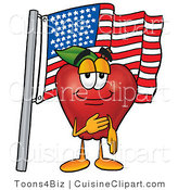 Cuisine Clipart of a Patriotic and Nutritious Red Apple Character Mascot Giving the Pledge of Allegiance in Front of an American Flag by Toons4Biz
