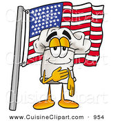 Cuisine Clipart of a Patriotic Chefs Hat Mascot Cartoon Character Pledging Allegiance to an American Flag by Toons4Biz