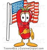 Cuisine Clipart of a Patriotic Chili Pepper Mascot Cartoon Character Pledging Allegiance to the American Flag by Toons4Biz