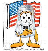 Cuisine Clipart of a Patriotic Salt Shaker Mascot Cartoon Character Pledging Allegiance to an American Flag by Toons4Biz