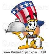Cuisine Clipart of a Patriotic Uncle Sam Mascot Cartoon Character Dressed As a Waiter and Holding a Serving Platter by Toons4Biz